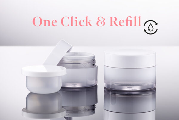 Refillable jar, insert can be replaced with one click