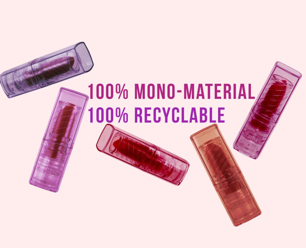 Lipsticks made of mono-material PET